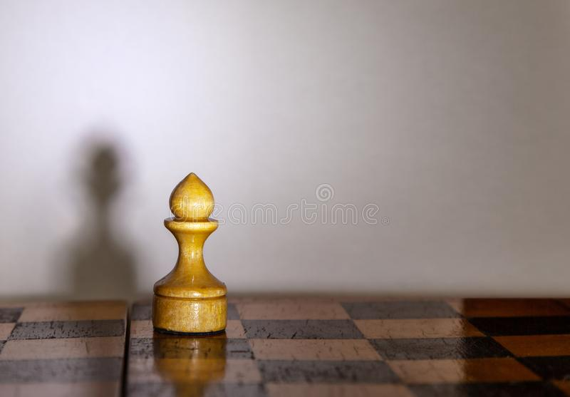 Chess pawn with the shadow on chessboard stock photos