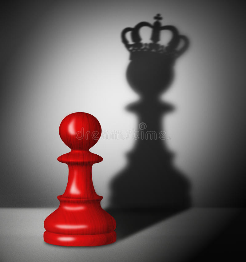 Chess pawn with the shadow of a king stock illustration