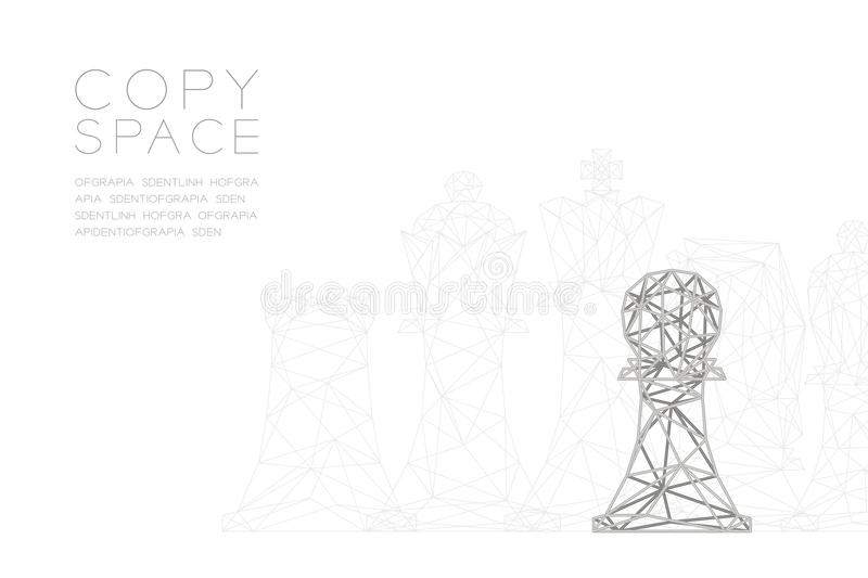 Chess Pawn wireframe Polygon silver frame structure, Business strategy concept design illustration vector illustration
