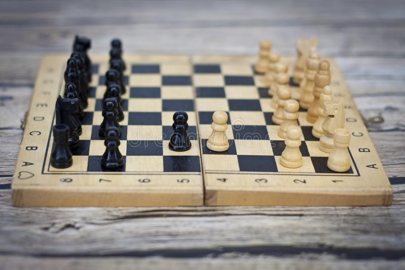 Chess photographed on a chess board royalty free stock photo
