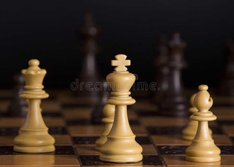 Chess photographed on a chessboard royalty free stock photo