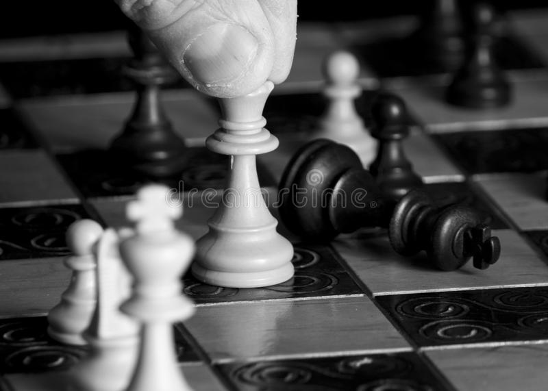 Chess photographed on a chessboard stock photography