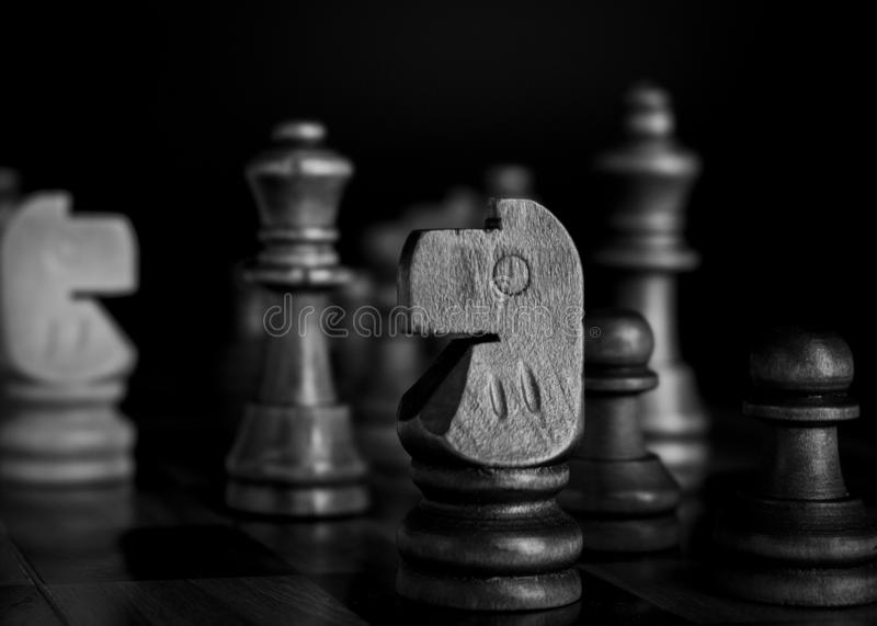 Chess photographed on a chessboard stock photos