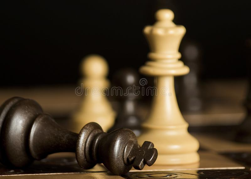 Chess photographed on a chessboard royalty free stock photos