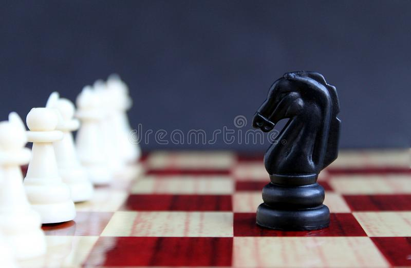 Chess piece black horse standing in front of white pawns. Chess, pieces, background, horse, strategy, knight, game, black, board, sport, leisure, field, play stock photography