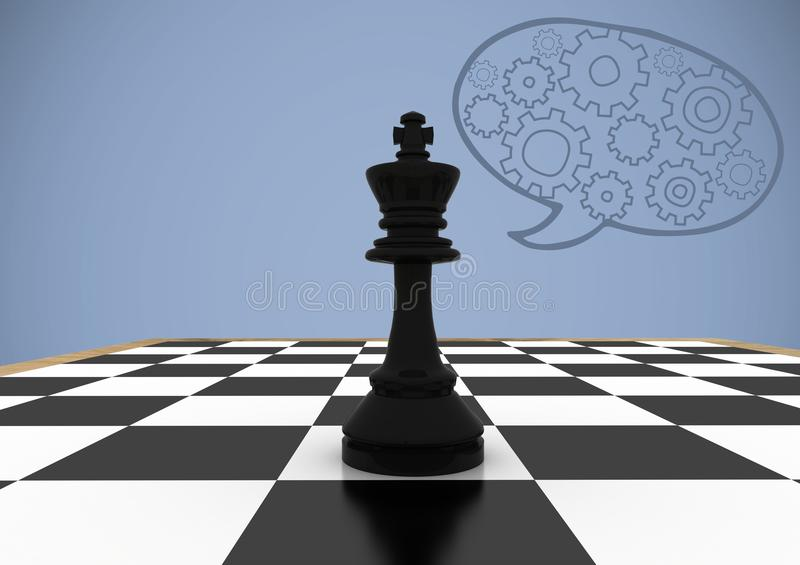 Chess pieces against purple background with speech bubble and cogs. Digital composite of Chess pieces against purple background with speech bubble and cogs royalty free illustration