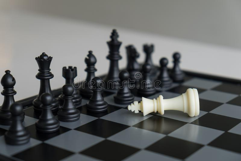 Chess pieces on board with white background, driven to success Business Strategy.  stock images