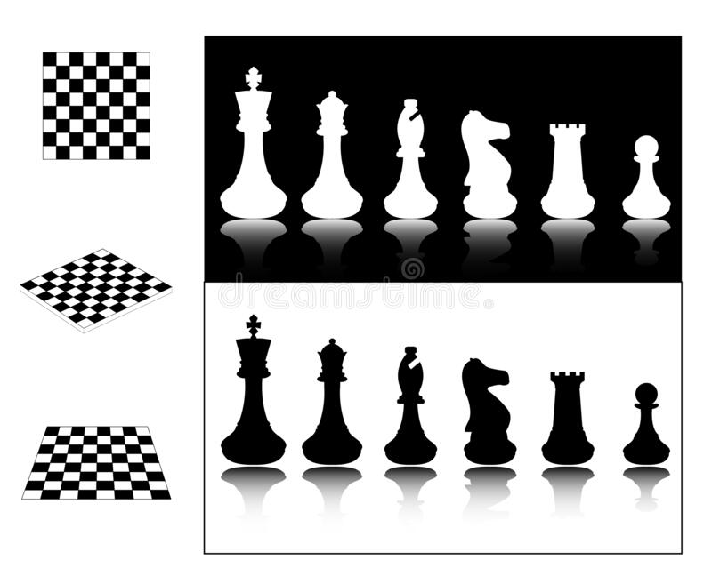 Chess pieces and chessboards. Vector royalty free illustration