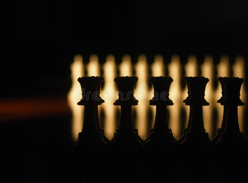 Chess pieces closeup on the Board stock photo