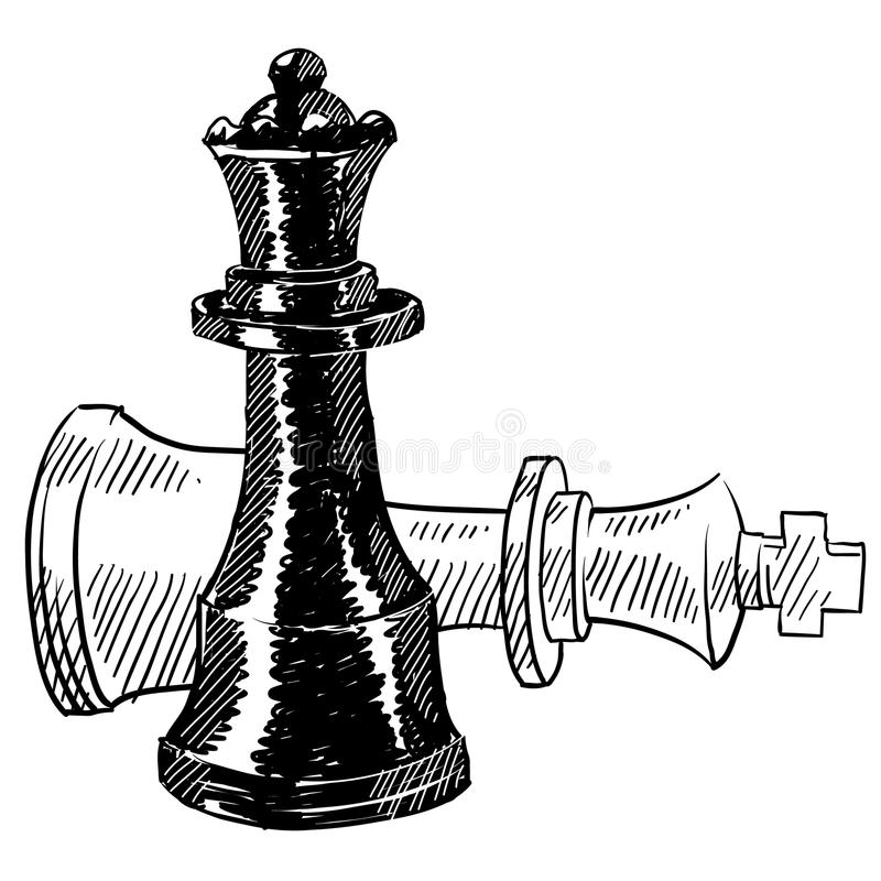 Chess pieces drawing royalty free illustration