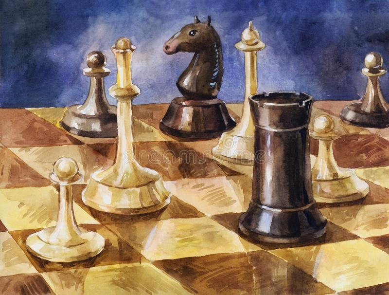 Wooden chess on the board. Hand drawn watercolor vintage background or illustration of intellectual game. Chess pieces on the game board. Watercolor illustration royalty free illustration