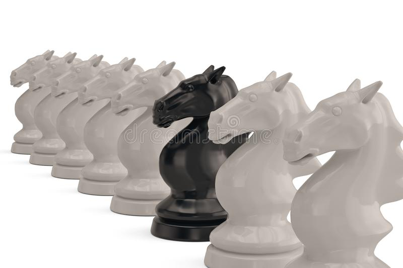 Chess pieces knights on white background.3D illustration. royalty free illustration