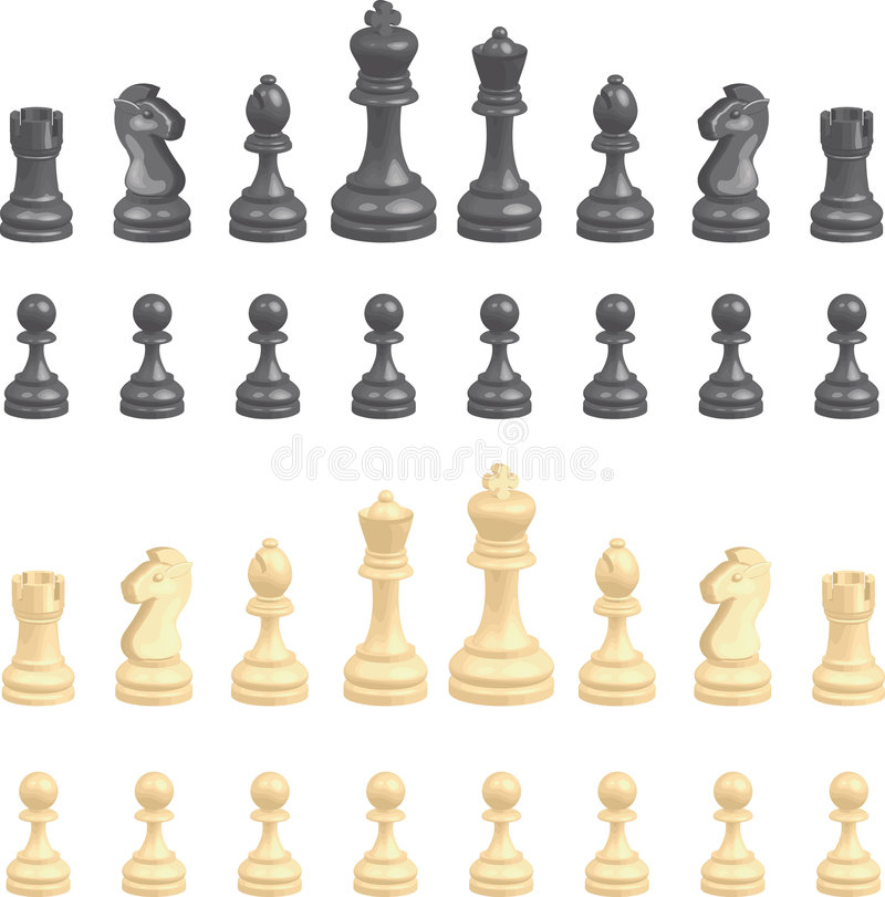 Chess pieces set royalty free illustration