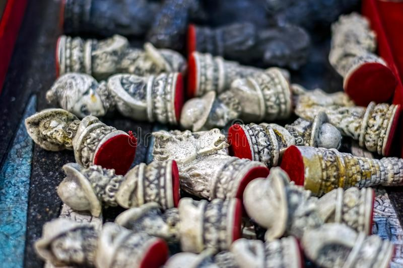 Chess pieces of stone thrown. Close view royalty free stock images