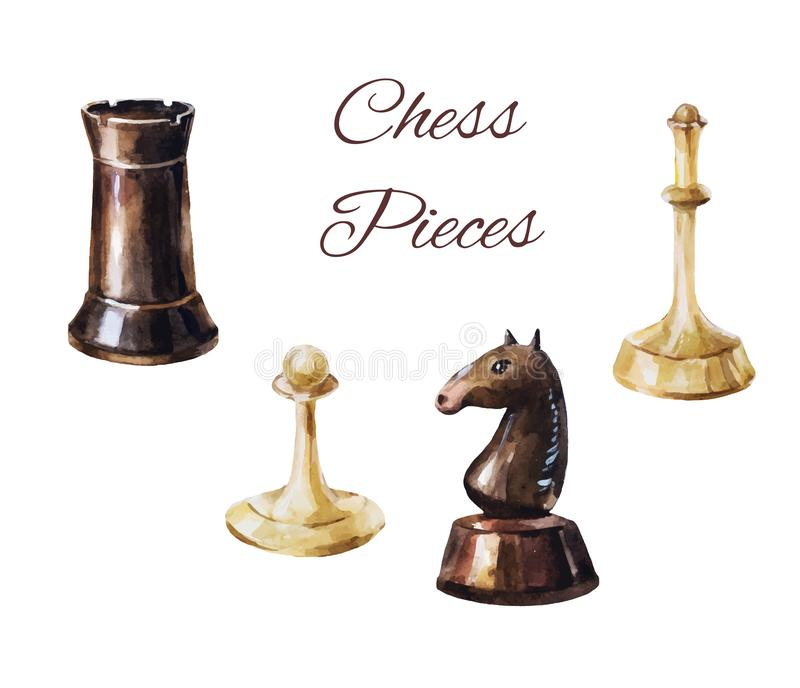 Chess pieces on white background. Vintage game elements. Chess pieces isolated on white. Watercolor illustration. Set of game figures suitable for stickers or royalty free illustration