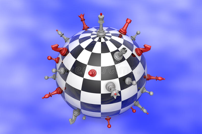 Chess Planet (political balance). Symbolic image (peaceful planet of chess and chess royalty free illustration