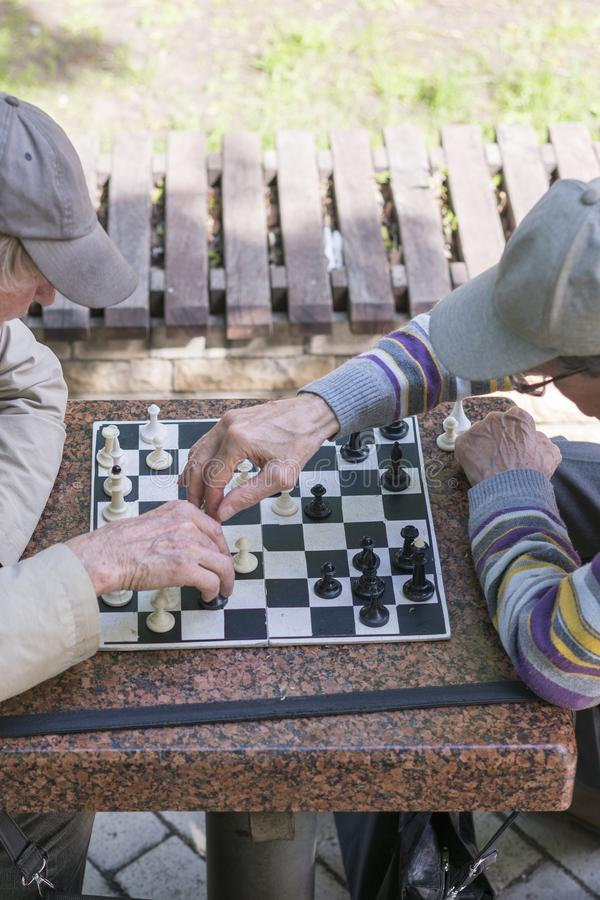 Chess player in the park. Old man plays chess in the park. vertical photo stock photography
