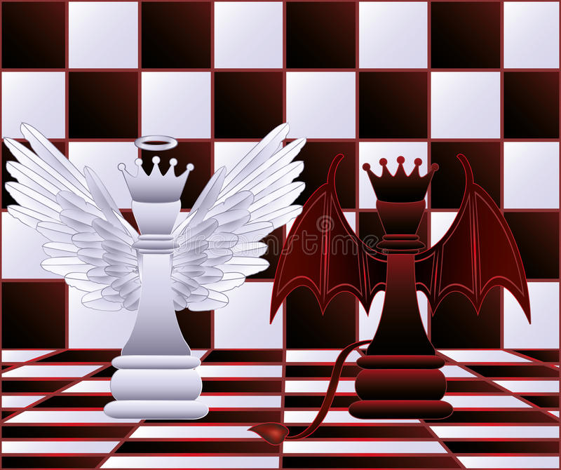 Chess Queen angel and devil royalty free illustration