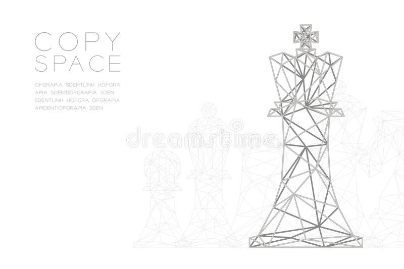 Chess Queen wireframe Polygon silver frame structure, Business strategy concept design illustration vector illustration