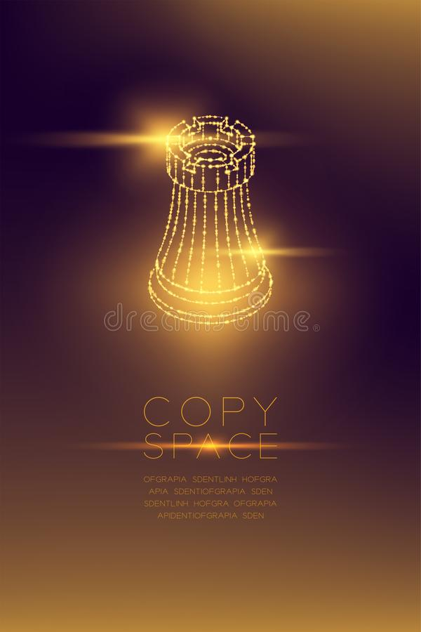 Chess Rook isometric wireframe polygon futuristic bokeh light frame structure and lens flare, Business strategy concept design ill royalty free illustration