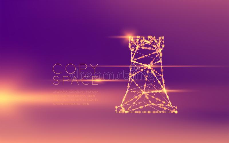 Chess Rook wireframe polygon futuristic bokeh light frame structure and lens flare, Business strategy concept design illustration vector illustration
