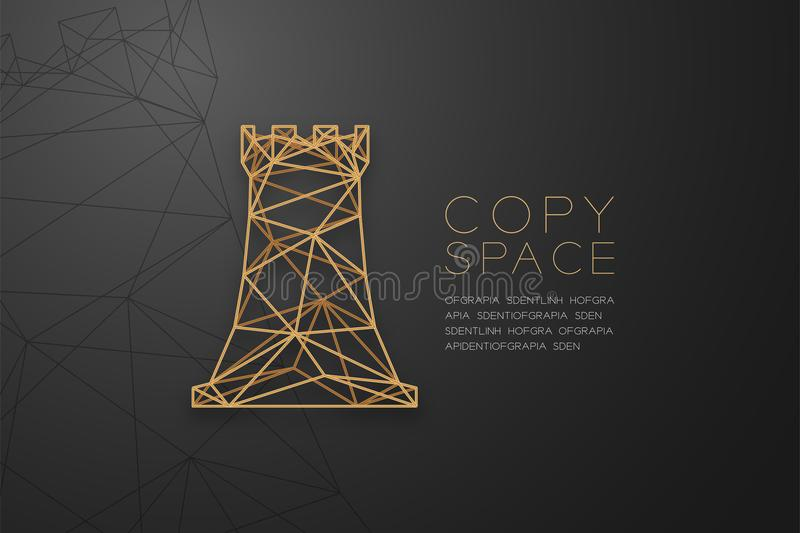 Chess Rook wireframe Polygon golden frame structure, Business strategy concept design illustration. Isolated on black gradient background with copy space royalty free illustration
