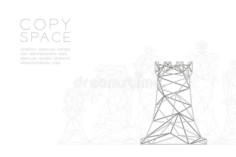 Chess Rook wireframe Polygon silver frame structure, Business strategy concept design illustration vector illustration