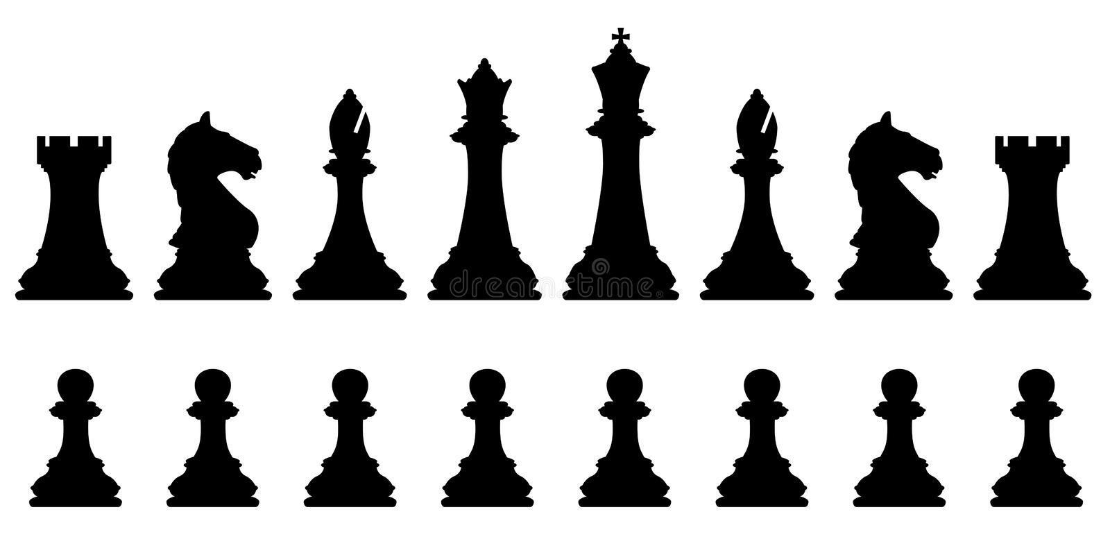 Chess set. Editable vector silhouettes of a set of standard chess pieces