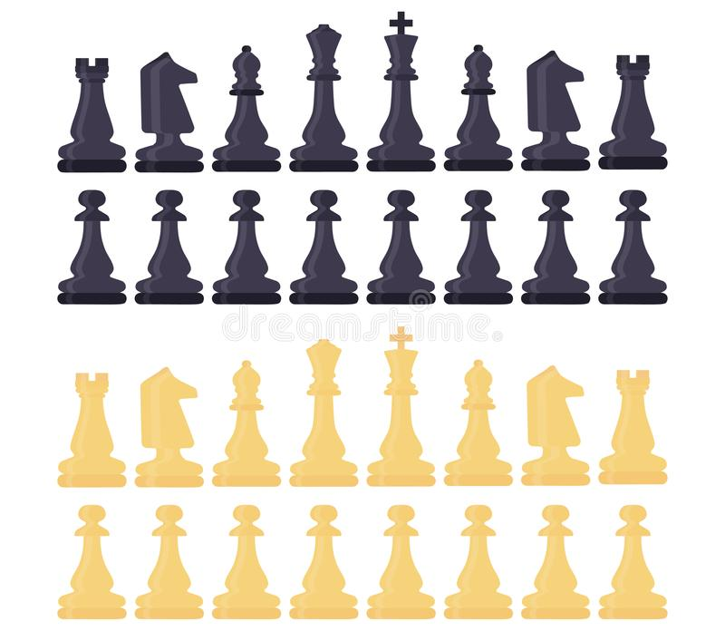 Chess symbol design art leisure strategy. Sport pictogram game concept vector dice board. Figure king, queen, bishop, knight, rook. Pawn. Illustration play set stock illustration