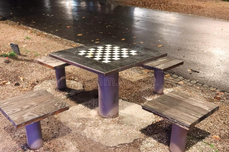 Chess table with four chairs stock photo