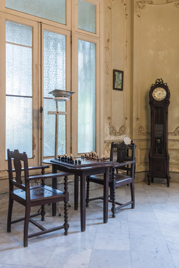 Chess table in private villa Havana royalty free stock photo