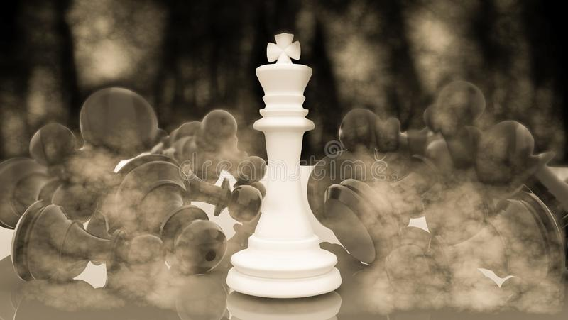 Chess winnner king after battle smoke results - 3d rendering. Chess winner king after battle smoke results death - 3d rendering stock photos
