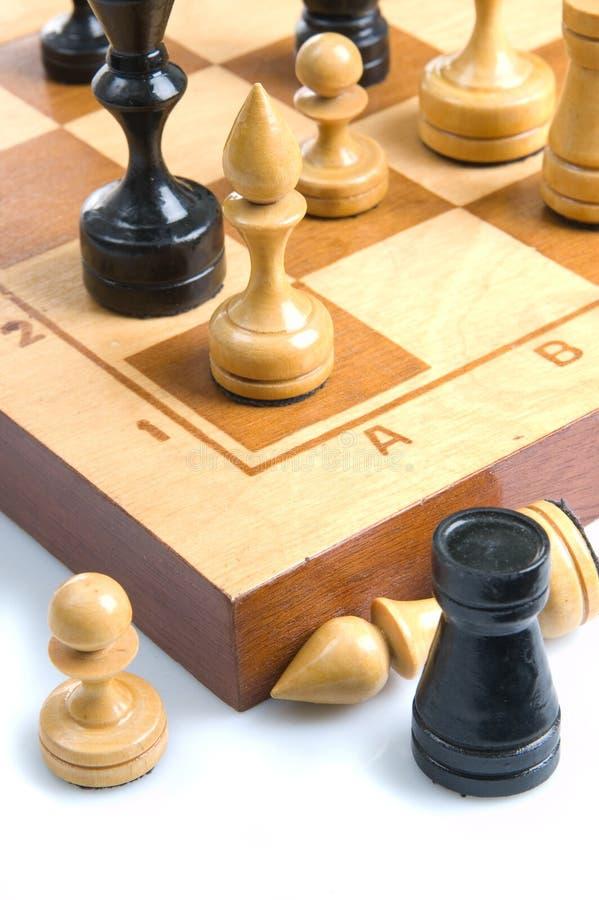 chessboard bierki niektóre obraz royalty free