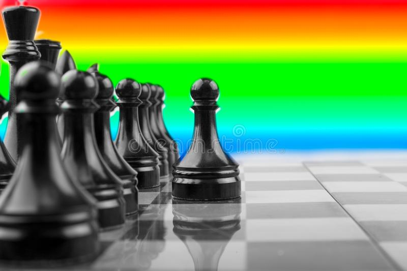 The Chessboard black pawns atack, logic game. royalty free stock images