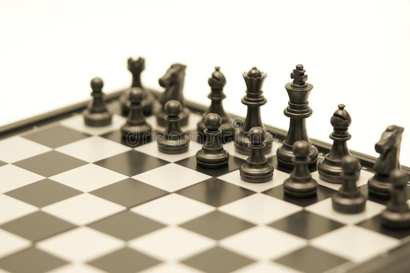 Chessboard with a chess piece on the back Negotiating in business. as background business concept and strategy concept with copy s royalty free stock photo