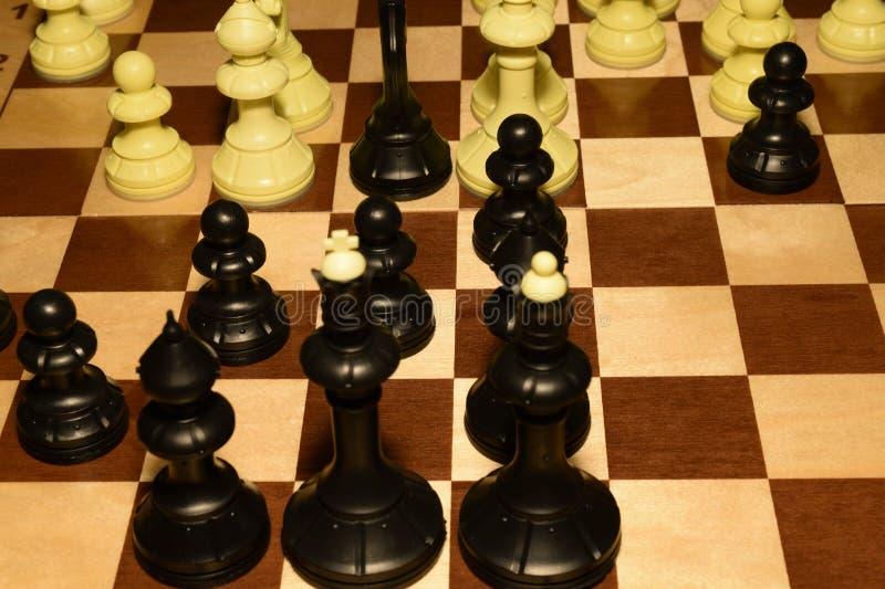 Chessboard i bia?e bierki dla hobby poj?cia zdjęcie royalty free