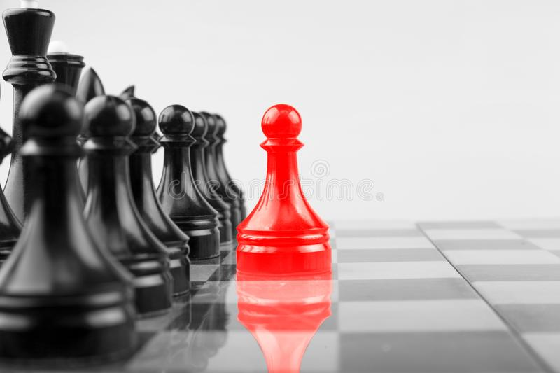 Chessboard Red pawns atack Black stock image
