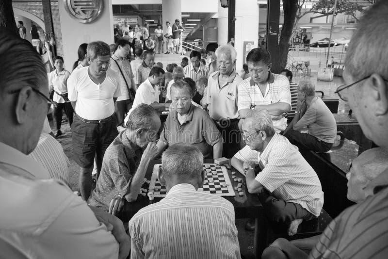 Chessmaters de Chinatown Singapour photo stock