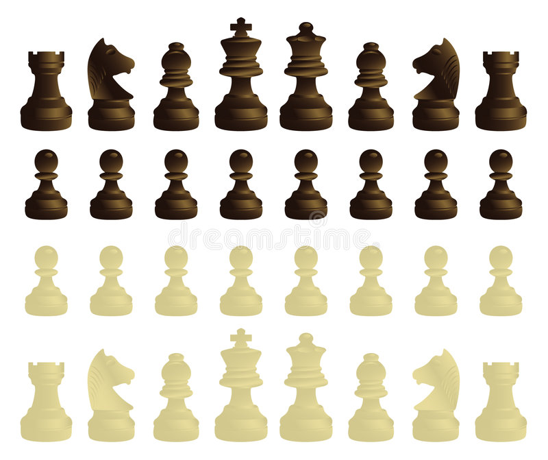 Chessmen complete set royalty free illustration