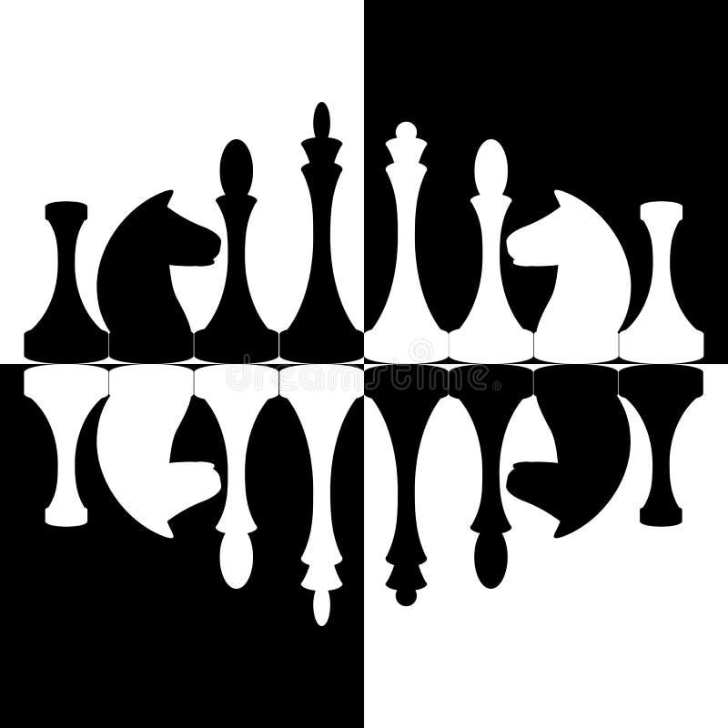 Chessmen sur le fond d'échecs photographie stock