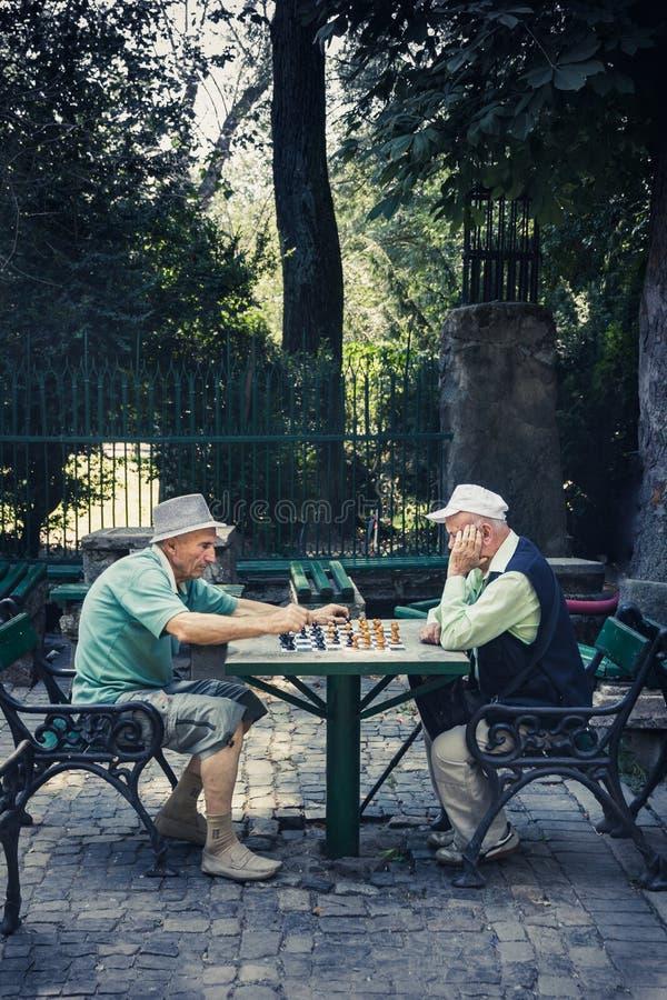 Chessplayers at Cismigiu park royalty free stock photo