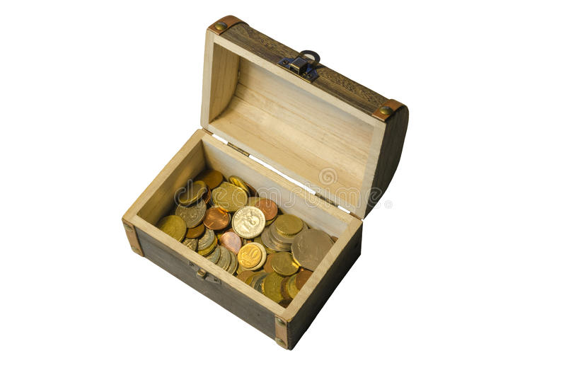 The chest of coins from different countries stock photo