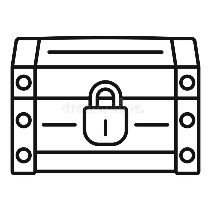 Chest dower icon, outline style. Chest dower icon. Outline chest dower vector icon for web design isolated on white background stock illustration