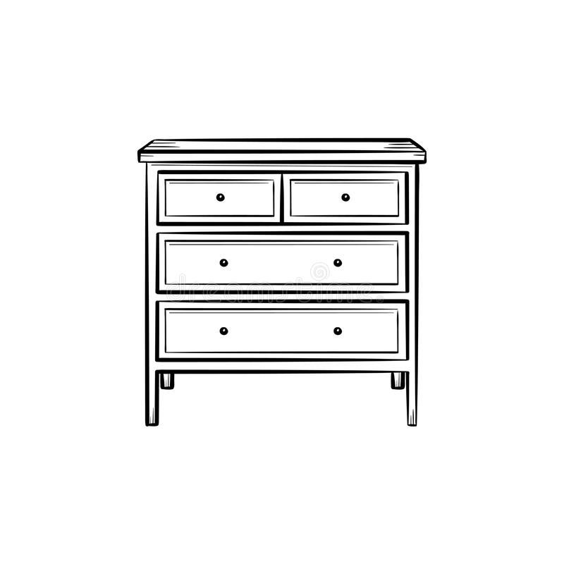 Chest of drawer hand drawn sketch icon.. Chest of drawer hand drawn outline doodle icon. Chest of drawer with shelves for clothing vector sketch illustration stock illustration