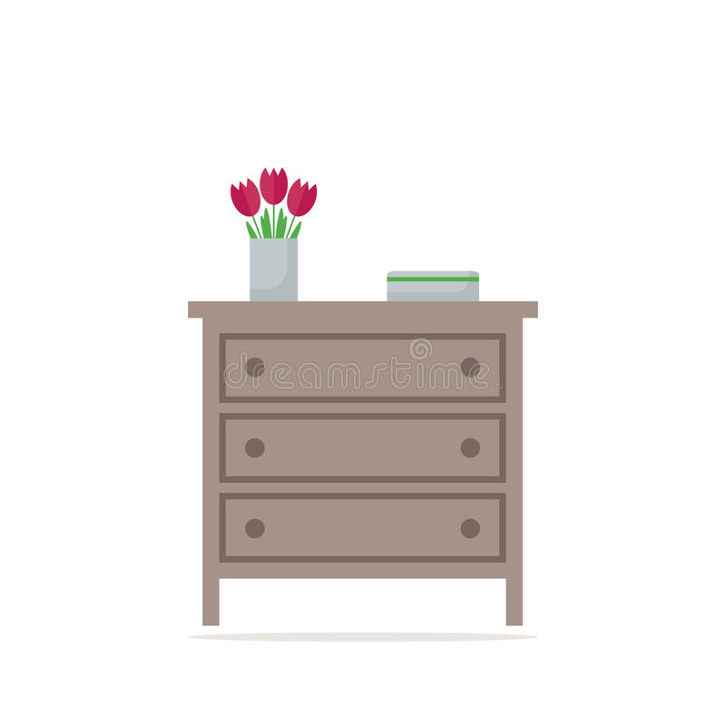 Chest of drawer icon. Element on white background. Contemporary furniture for bedroom or living room. Flat style vector illustration royalty free illustration