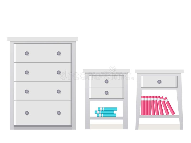 Drawer chest and dresser in flat design. Vector illustration. Chest of drawers, bedside table. Vector. Furniture icon in flat design. Cartoon house equipment vector illustration