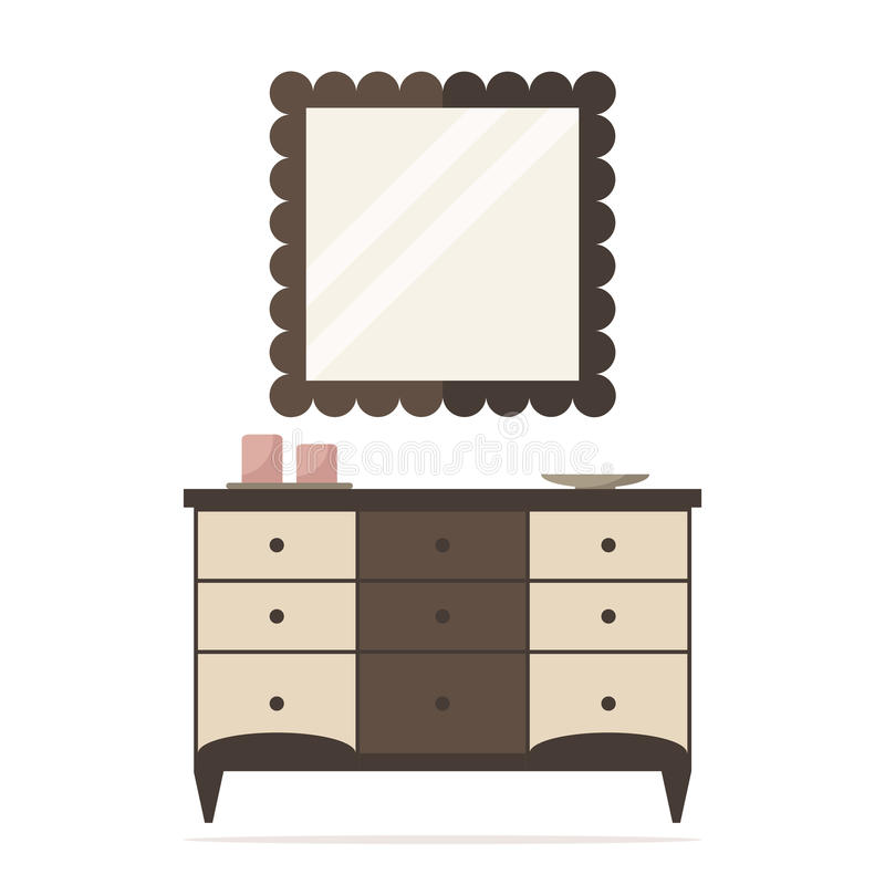 Chest Of Drawers Icon With Mirror And Decoration Bedroom Interior Design Stock Vector Illustration Of Beige Locker 57671902