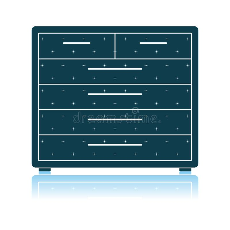 Chest Of Drawers Icon. Shadow Reflection Design. Vector Illustration stock illustration