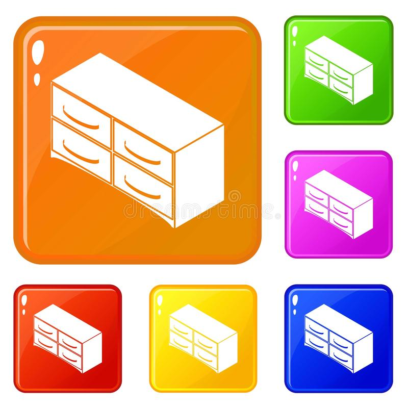 Chest of drawers icons set vector color. Chest of drawers icons set collection vector 6 color isolated on white background vector illustration