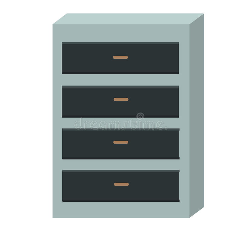 Chest of Drawers Isolated on White Background. Modern office interior design. Cupboard with empty drawer. Wooden chest of drawers with clipping path. Dresser stock illustration